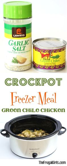 Crockpot Freezer Meal Recipe: Green Chile Chicken! ~ at TheFrugalGirls.com ~ this freezer friendly Slow Cooker Dump Chicken dinner is perfect for busy weeknights and SO delicious when served shredded on tacos. #slowcooker #recipes #thefrugalgirls