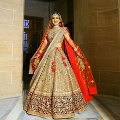 31 Most Stunning Indian Bridal Photo Shoot: Photo Ideas - LooksGud.in - Red & Maroon Golden Sequence Bridal Lehanga Choli - Indian Bridal Photos, Indian Bridal Outfits, Indian Bridal Lehenga, Indian Bridal Wear, Red Lehenga, Indian Dresses, Bridal Dresses, Golden Bridal Lehenga, Eid Dresses