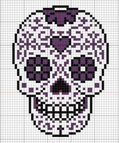 Sugar skull pattern for Perler beads or cross stitch. Crochet Skull, Crochet Cross, Crochet Chart, Filet Crochet, Loom Patterns, Beading Patterns, Cross Stitch Charts, Cross Stitch Patterns, Cross Stitching