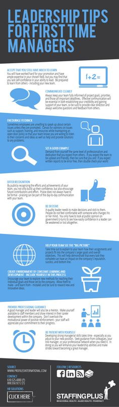 Leadership tips for first time managers #infografia #infographic #leadership