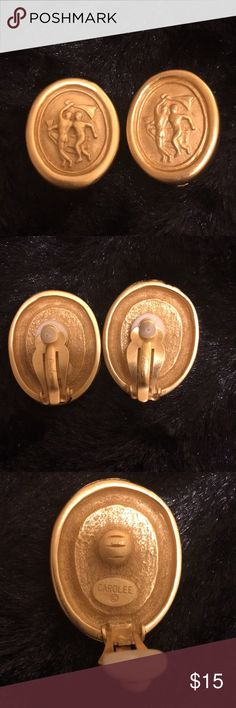Vintage Carolee clip earrings Vintage inspired cameo design clip earrings from Carolee Carolee Jewelry Earrings