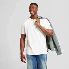 Men's Big & Tall Standard Fit Short Sleeve Henley T-Shirt - Goodfellow & Co Off White 4XBT