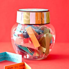 Done this before but not with colored paper...cute! Quote Jar Give an inspiring, fortune-filled gift. Write mood-boosting quotes, sayings, or tasks on tiny slips of paper, then use them to fill a clear jar. For extra oomph, dress up the jar lid with patterned paper and other craft supplies.