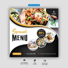 Food Menu And Restaurant Social Media Banner Template Food Graphic Design, Food Menu Design, Restaurant Menu Design, Restaurant Identity, Design Design, Youtube Banner Design, Bio Food, Food Promotion, Food Banner