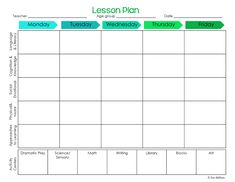 Pre K Lesson Plans, Daycare Lesson Plans, Lesson Plan Format, Weekly Lesson Plan Template, Lesson Plan Examples, Lesson Plans For Toddlers, Kindergarten Lesson Plans, Preschool Lessons, Preschool Activities