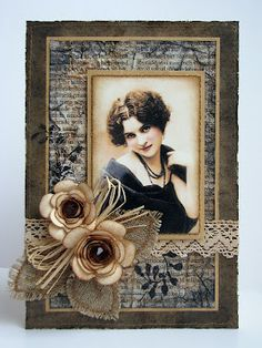 burlap leaves, paper flower, stamped and distressed book page, raffia and lace