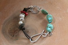 Leather Turquoise hill Tribe Bracelet Everything by DesignsbyGaleM, $48.00