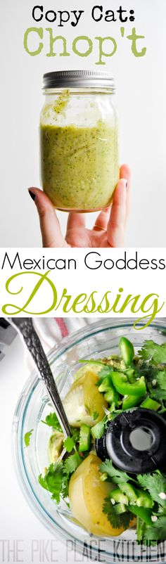 Copy Cat Chop't Mexican Goddess Dressing! It's delicious on everything from salads to veggies and even just on chips for a quick snack! #food