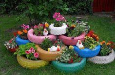 Kreativ mit Gummi! Machen Sie aus einem Autoreifen einen wunderschönen Pflanzkübel für den Garten! - DIY Bastelideen