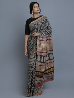 Black Golden Hand Block Printed Cotton Saree