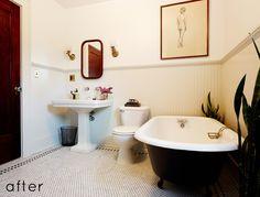 Kathryn's bathroom on Design*Sponge. Black and white. Antique looking.