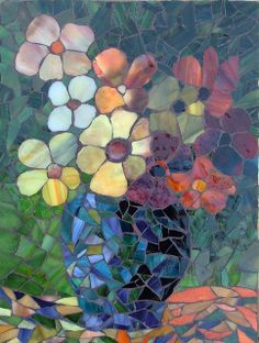 Flower Study Mosaic using stained glass...going to make this.........!!!!!!!!!