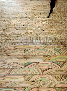 Marbelous Wood, designed by Snedker Studio, is repurposed using an old marbling technique to enhance its natural grain and texture.