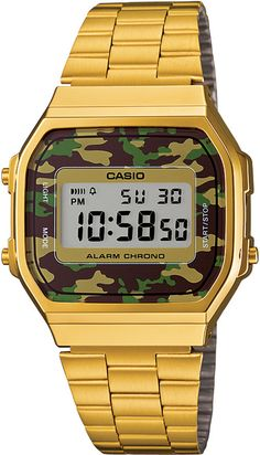 Green camo and gold vintage Casio watch
