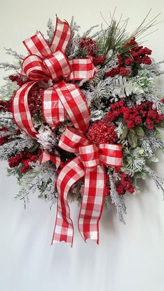 XL Christmas berries wreath Winter wreath Red and White