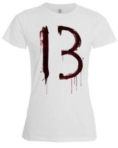 Scary gifts at DaWanda - Bloody 13 Thirteen High Quality Custom Made Shirt 100% Cotton - via en.dawanda.com