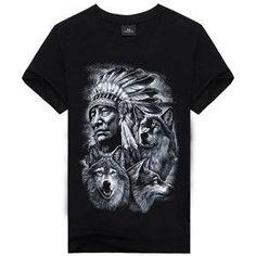 Indian Wolf Cotton Shirt Sizes M-XXXL