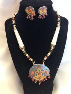Rajasthani Unique White-Gold Meenakari Work With Twin Peacock Pendant Set