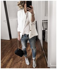 "7,494 Likes, 110 Comments - Audrey Lombard (@audreylombard) on Instagram: ""⚪️💙 • Jacket from @cozettelille • Top #roseanna (from @vestiaireco) • Jean #levis (old) • Sneakers…"""