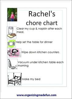 Chore Charts for kids of all ages!