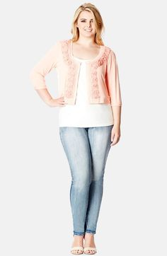 Free shipping and returns on City Chic Fancy Knit Crop Cardigan (Plus Size) at Nordstrom.com. Lovely chiffon flowers add charming appeal to a soft knit cardigan designed in a cropped silhouette with a round neckline and three-quarter sleeves.
