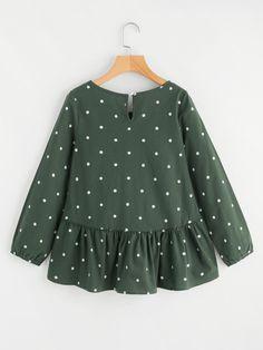 design of blouse Polka Dot Print Frill Dip Hem Blouse -SheIn(Sheinside) Dresses Kids Girl, Girl Outfits, Casual Dresses, Fashion Dresses, Pakistani Dress Design, Baby Dress, Blouse Designs, Kids Fashion, Clothes