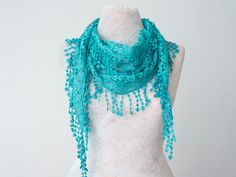Lace Scarf Teal Scarf Lace Fringe Scarf Triangle Scarf by Oxoo