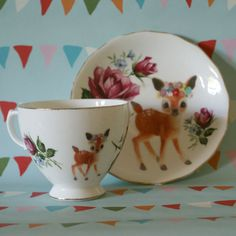 Illustrated Vintage Cup and Saucer Set Dark Red Roses with Flower Deer