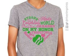 GIRL SCOUT LAW HEART, triblend youth tee