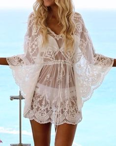 Sexy Crochet Lace See Through Beachwear Cover Ups - Bademode-Website Collarless Lace See-Through Plain Cardigan - Buy Online Dress Plus Swimwear, Swimwear Cover Ups, Bikini Cover Up, Swimsuit Cover Ups, Bikini Swimwear, Sexy Women, Buy Dresses Online, Mode Boho, Mode Style