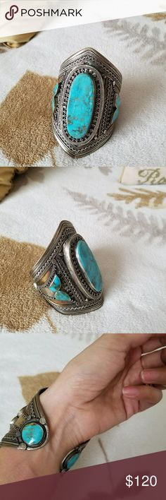 Sterling silver Native American turquoise cuff! Real turquoise Sterling silver cuff! Bought at at the Gem Shopping Network but never used it because it fits big on my small wrist! Open to offers! It needs to be cleaned with a Sterling silver solution to remove some tarnish. Gem Shopping Network Jewelry Bracelets #sterlingsilverjewelrycleaningremovetarnish