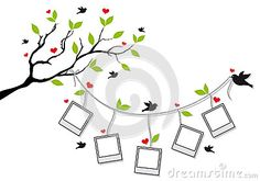 Tree With Photo Frames And Birds, Vector Royalty Free Stock Photo - Image: 26530515