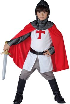 Medieval Crusader Knight Costume for boys: Kids Costumes,and fancy dress costumes - Vegaoo Fancy Dress Costumes Kids, Fancy Dress For Kids, Boy Costumes, Halloween Costumes, Costume Garçon, Knight Costume, Costume Chevalier, Crusader Knight, Fairy Tale Costumes
