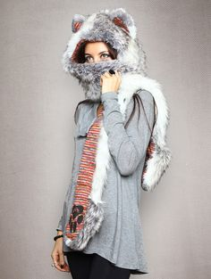 Arctic Fox. Traits: Cunning > Wise > Adaptable. #SpiritHoods https://www.spirithoods.com/adults/womens/arcticfox/1253/#