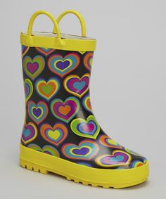 Look what I found on #zulily! Yellow & Black Colorful Heart Rain Boot by LILLY of NEW YORK #zulilyfinds