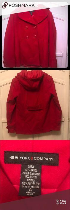 Selling this Double breasted hooded pea coat on Poshmark! My username is: isabella6283. #shopmycloset #poshmark #fashion #shopping #style #forsale #New York & Company #Jackets & Blazers