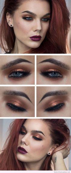 Linda Hallberg brown eye makeup and dark lips