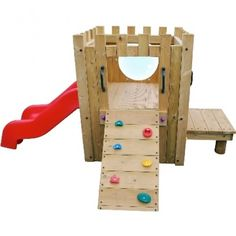 Garden Castle - A wooden climbing frame for children over the age of 2. Complete with a slide and a small rock climbing face. This piece of equipment will improve childrens gross motor skills, basic strength and balance whilst also providing an area for fun play and recreation. • Wood is rounded at the edges to avoid injury or harm • W/L/PlatformH 1.5 x 3 x 0.6m