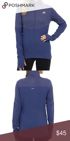 Nwt Adidas half zip Adidas lightweight half zip jacket. Color purple size small. Has a zip pocket on the arm. adidas Jackets & Coats