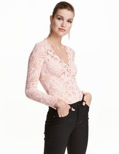 Lace Bodysuit | Powder pink | Ladies | H&M US