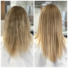 before and after photo of keratin treatment 1 Makeup Salon, Hair Makeup, Relaxer, Level 3, Cosmetology, Miami Beach, Salons, Hair Color, Make Up