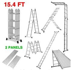 Finether Telescoping Ladder Multi Purpose Aluminum Extension Ladder, Folding Ladder Certified by Capacity Heavy Duty with Safety Locking Hinges and 2 Panels for Free A Frame Ladder, Stair Ladder, Folding Ladder, Scaffold Platform, Platform Ladder, Aluminium Ladder, Combination Ladders, Shopping