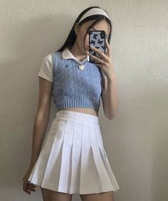 Adrette Outfits, Cute Skirt Outfits, Indie Outfits, Teen Fashion Outfits, Korean Outfits, Retro Outfits, Girly Outfits, Cute Casual Outfits, Look Fashion