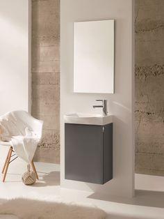 Varick Gallery Kegley Single Bathroom Vanity Set with Mirror Base Finish: Anthracite Best Bathroom Vanities, Single Bathroom Vanity, Small Bathroom, Bathroom Ideas, Basin Vanity Unit, Vanity Units, Vanity Cabinet, Wall Hung Vanity, Vanity Set With Mirror