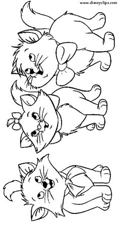 aristocats coloring pages - Aristocats Kittens Coloring Pages