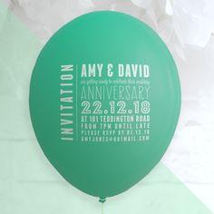 Anniversary ballon invitation - custom balloon printing for any event