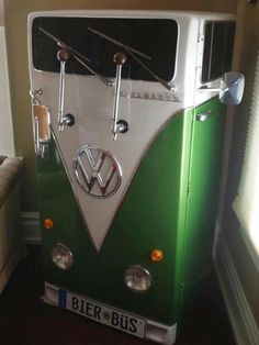 "A Koegerator Fridge That Looks Like a VW Bus -- A refrigerator has been converted into a kegerator that looks like the front of a Volkswagen Bus. The license plate aptly reads ""Bier Büs. Volkswagen Bus, Vw T1, Volkswagen Beetles, Volkswagen Transporter, Vw Camping, Glamping, Beer Fridge, Mini Fridge, Man Cave Accessories"