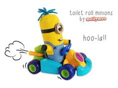 mollymoo.ie - Toilet Roll Craft- Make a Minion--stuff toilet paper roll with newspaper.. cover surface with plaster tape or paper mache, then paint add google eye and yarn for hair..strip of black construction paper around head