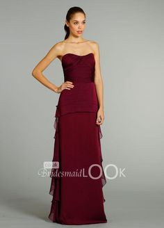 Cheap Burgundy Chiffon Floor Length A-line Bridesmaid Dress with Two Tiered  Peplum is on Sale! Buy Burgundy Chiffon Floor Length A-line Bridesmaid Dress  ... 576314d0d700