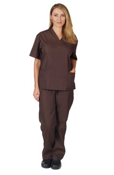 Natural Uniforms Women Scrub Set Medical Scrub Top and Pants, Brown, XX-Small Discount Scrubs, Cheap Scrubs, Gear Logo, Womens Scrubs, Medical Scrubs, Scrub Sets, Drawstring Pants, V Neck Tops, Fashion Brands